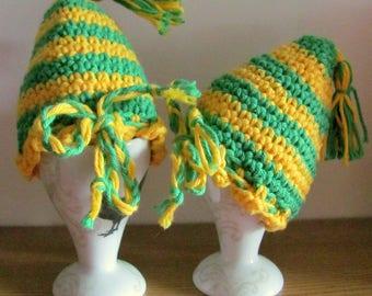 2 crochet egg warmer in green - yellow stripes