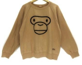 BAPE A Bathing Ape x BABY MILO Big Logo Face Made In Japan Brown Sweatshirt Jumper General Star Camo Shark