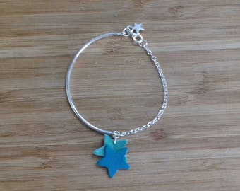 Graphic bracelet 2 star light silver half Bangle, leather chain silver