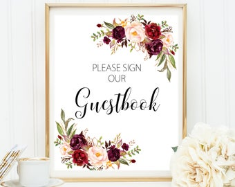 Wedding Guestbook Sign, Guestbook Sign, Please Sign Our Guestbook Sign, Wedding Guestbook Printable, Red Guestbook, Red Wedding Decor