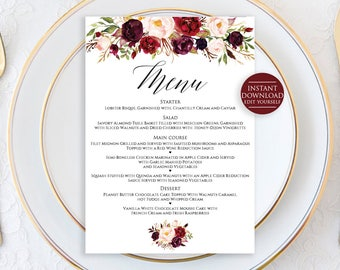 "Wedding Menu Template, Menu Printable, Menu Cards, Editable Wedding Menu, Marsala Wedding Menu, 5""x7"" Menu Printable"