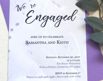 marble engagement party invitation