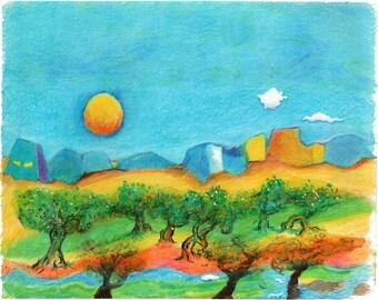 "Sunrise in an Orchard - 14""x11"""