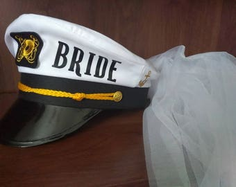 Bride Captains hat with Veil- Personalize, bridal shower, Bachelorette, Let's Get Nauti, Let's Get Ship Faced