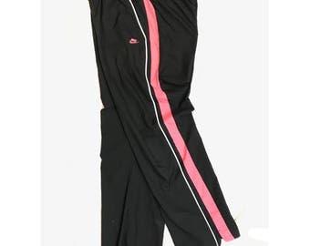 Vintage 90s Nike - Black/Pink Track Pants - Medium