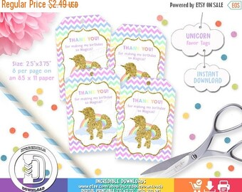 50% OFF SALE Unicorn Favor Tags, Rainbow Favor Tags, Magical Party, Unicorn Birthday Party  Unicorn Decorations, INSTANT Download