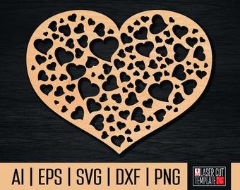 Wooden heart, heart laser cut, wooden heart plaque, wood heart laser, heart dxf, valentine dxf, cnc file, svg files, hearts svg, laser cut