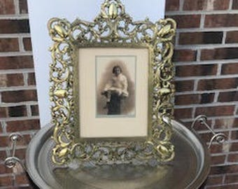 Early 1900's Reticulated Brass Victorian Picture Frame