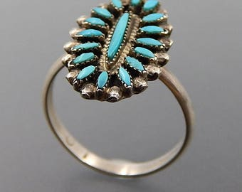 Vintage Zuni sterling silver turquoise needlepoint oval cluster ring size 7.75