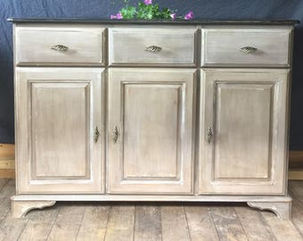 Hand painted sideboard/buffet/cabinet painted in neutral shades of Annie Sloan Coco, French Linen and Graphite.