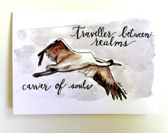 "Sympathy card original watercolor crane ""travellers between realms"" miscarriage, infant loss, in memory of; one blank card w/ envelope"