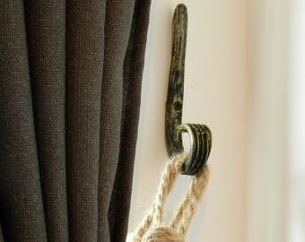 Wrought iron Hook.. Antique Gold Curtain Tie Back Hook.. Handmade..Wrought Iron Curl Holder Curtains..
