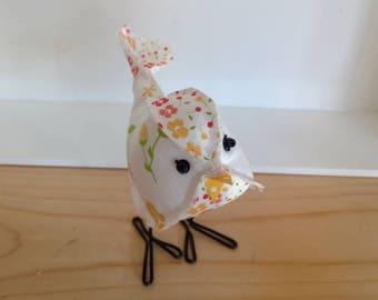 Fabric bird, white floral, fabric birds, cute stuffed bird, cloth birdie, stuffed animal, bird collection, bird, birdie, white bird