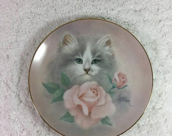 "ON SALE Limited Edition ""Blushing Beauties"" by Bob Harrison Collectible Plate by The Hamilton Collection / 1st in Petals and Purrs series /"