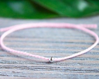 Sisters Matching Bracelets Mother Daughter Flamingo Pink String Bracelet Long Distance Gift Sterling Dainty Silver Beads Red String of Fate