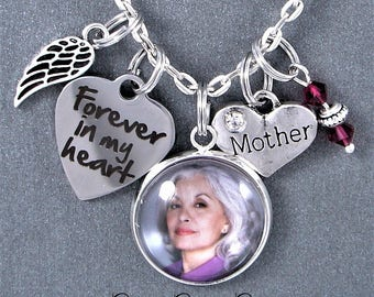 Mother Forever In My Heart Memorial Keepsake Custom Photo Charm Necklace, Birthstone, Angel Wing, Grief, Remembrance Gift, Sympathy Gift