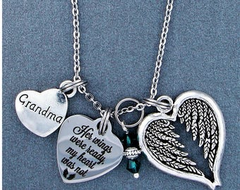 Grandma ~ Her Wings Were Ready, My Heart Was Not Memorial Necklace, Swarovski Birthstone, Sympathy Jewelry Memorial Gift, Personalized Gift