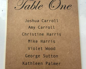 Vintage Wedding Table Plan Card with Handmade Roses - Wedding Stationary - Table Numbers - Rustic - Vintage - Shabby Chic