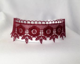 Burgundy lace choker, Lace choker, Burgundy necklace choker, Burgundy jewelry, Burgundy necklace, Dentelle choker necklace