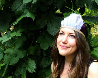 feather headband   festival headpiece   festival headdress   woodland party   wilderness   feather festival crown   outfit   costume
