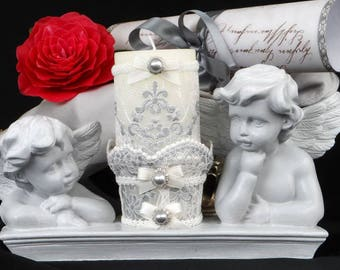 Angels candle pedestal romantic shabby chic patina gray and white lace embroidered bead