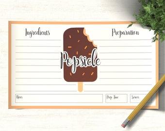 Popsicle Recipe Card Template | recipe cards, blank recipe card, recipe card printable, recipe card 6 x 3.5, printable recipe