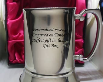 Personalised Engraved  Tankard In black gift box with red satin lining. Perfect gift for wedding, birthday, Christmas