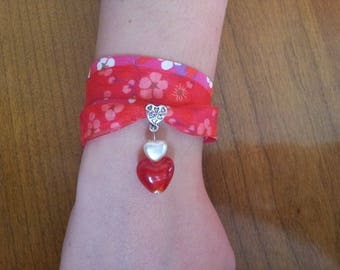 Double bracelet liberty and organza red tones