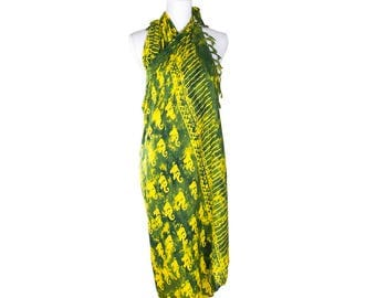 Elephant Sarong in Yellow and Green