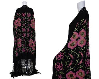 1930s Pink and Black Floral Embroidered Piano Shawl
