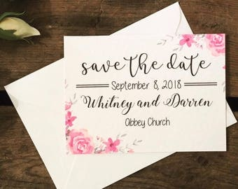 Save the Date, blush pink, floral, pretty