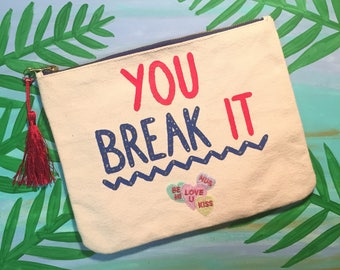 Heartbreaker Canvas Clutch Wristlet Bag
