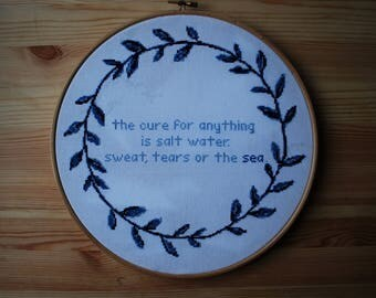 Salt Water Cure cross stitch pattern, quote cross stitch, cross stitch PDF, instant download