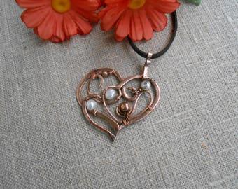 Copper heart Heart copper Copper pendant  Pendant copper  Heart with pearl Heart pendant Pendant with pearl Copper jewelry Wire wrap jewelry