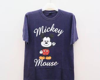Vintage MICKEY MOUSE Disney Cartoon Animation Blue Tee T Shirt Size L