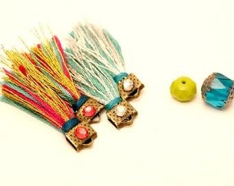 4 Golden tassels and silver tassels, tassels Turquoise, Fuchsia tassels, Swarovski crystals, bronze, Tassel