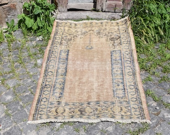 Pastel Color Free Shipping Turkey Rug 2.7 x 4.3 feet Bohemian Rug Home Decor Floor Rug Pale Color Oushak Rug Area Rug Aztec Rug