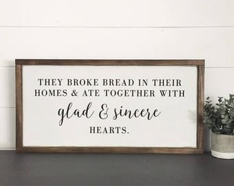 Wood Sign | ACTS 2:46 | Modern Farmhouse Sign | Hand painted | Wall Art | Home Decor