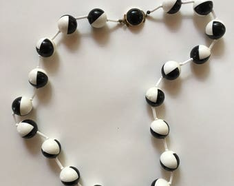 Black and white abstract beaded necklace from the 1960s