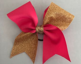 Poppy Pink and Gold Bow