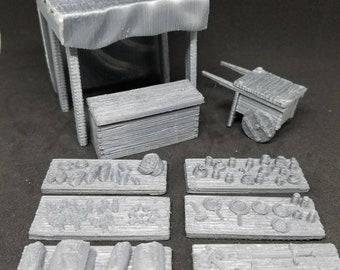 Market Street Vendor Set - 3D Printed 28mm Scale