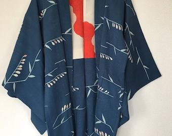 Vintage Japanese kimono Jacket, Silk crepe Haori, branches with buds blue/0008