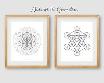 Geometry Print, Geometric PRINTABLE, Abstract Wall Art, Neutral Sacred Geometry, Coldplay Print, Abstract Circles Print, Sacred Geometry Art