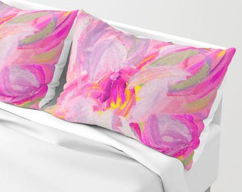 Pink Pillow Shams - Floral Bed shams - standard king shams - set of TWO - Free Shipping