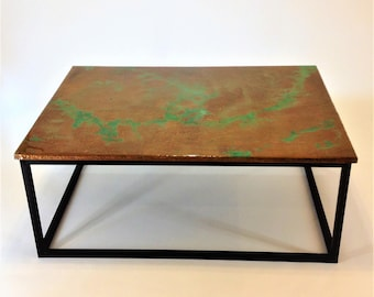 Hammered Copper with Green Patina, epoxy finish