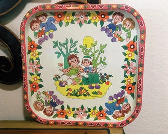 Vintage Daher England Metal Tray, Raggedy Ann and Andy by Pritchard