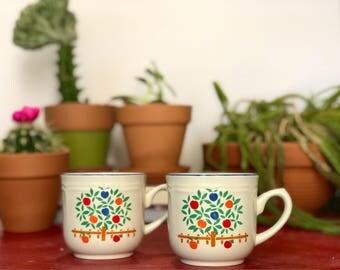 Vintage Coffee Mugs, International Stoneware Japan Coffee Mugs, Apple Trees