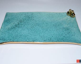 Gold-birds Platter, Large Rectangular Turquoise Plate, Handmade Luxury Ceramic, Melbourne