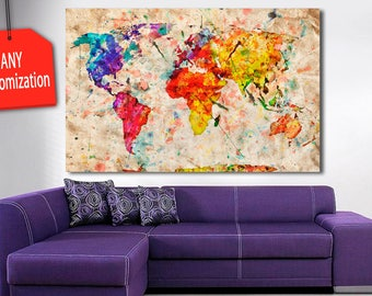 Xxl canvas art etsy 1 5 panel colorful world map canvas painting bright world map wall gumiabroncs Choice Image