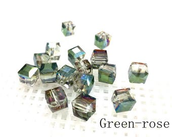 Square crystal A-B color/AB color square glass beads_to choose 4mm/6mm/8mm_45 beads/strand
